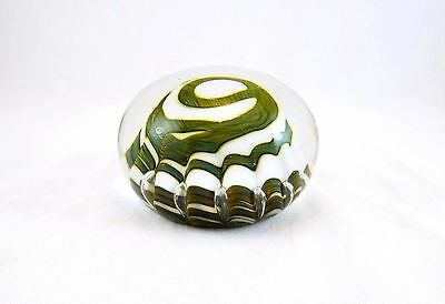 Vintage White & Green Controlled Bubble Glass Paperweight