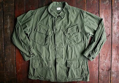 Vtg '70 Us Army Vietnam Rip-Stop Jungle Fatigue Combat Shirt Jacket Short Small