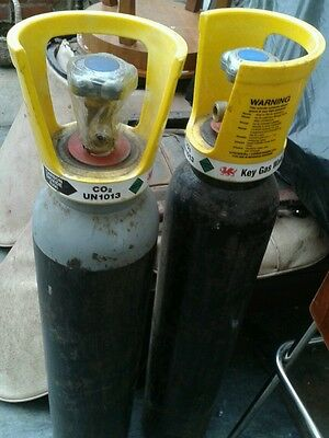 2 X Co2  Gas cylinders 1 x full 1 nearly full for welding,home brew,fish tank.