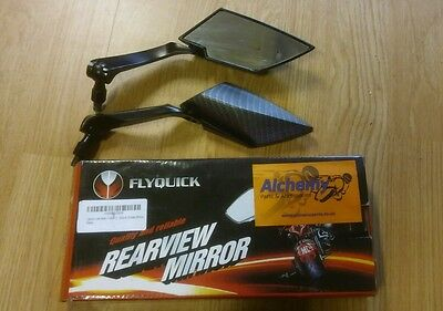 Universal Alloy Aluminium Black/Carbon Motorcycle Scooter Mirrors Pair