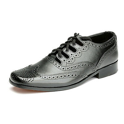 New Scottish Leather Kilt Shoes Thistle - Fashion Ghillie Brogue - Black - UK • EUR 98,47