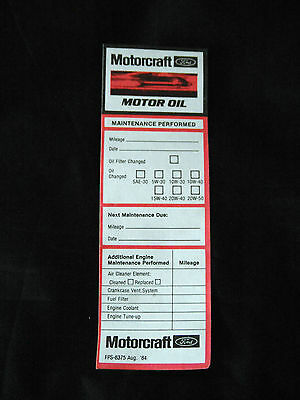 Lot Of 10 New Old Stock Vintage Ford Motorcraft Oil Change And Service Stickers