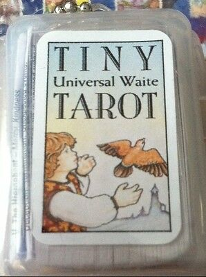 Tiny Universal Waite Key Chain Tarot Deck Cards Book Oracle Guidance New! Cat