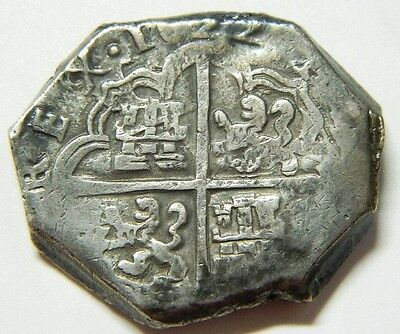 8 REALES FELIPE IV SEVILLA SPAIN SILVER  1622 Rewritten - Subsequently re-record