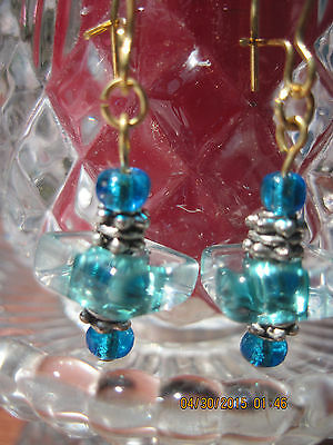 Gold w/Turquosie Handmade Square  Dangle Fashion  Earrings......OOAK #12