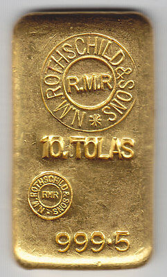 Rare N. M. ROTHSCHILD and SONS (RMR) 10 tolas 999.5 Fine Gold Bar = 3.75 ozs