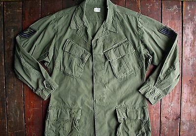 Vtg '70 Us Army Vietnam Rip-Stop Jungle Fatigue Combat Shirt Jacket Reg Medium
