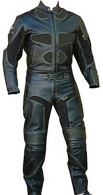 2pc Motorcycle Riding Racing Leather Track Suit w/ Padding & Armor New Black