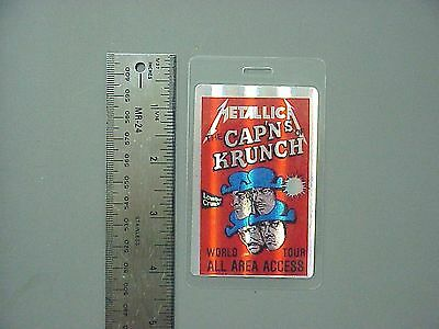 Metallica backstage pass Laminated Authentic Cap'ns Of Crunch HOLOGRAM !