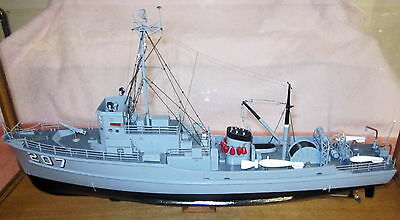 BOAT MODEL - Nautical - USS Whippoorwill in Case - Estate of Capt. AM SAVAGE