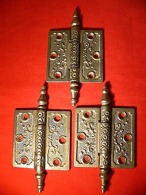 "Antique Victorian Door Hinges 3"" x 3"" Old Ornate Steeple Tip Top Pins Cast Iron"