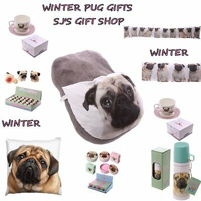 Winter Pug Gifts - Slippers - Draught Excluder - Cushion - Flask - Lips - Pugs