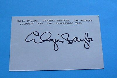 ELGIN BAYLOR Lakers HOF Signature Signed 3x5 Index Card Auto Autograph