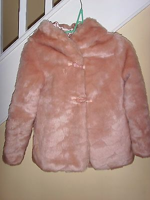 M&S Girls powder pink quality faux fur coat - perfect - gorgeous -Age 9-10yrs