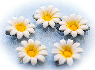 12 Pretty china daisy sugarcraft jewellery craft embellishments brooches flowers