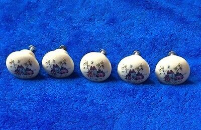 Vintage White Porcelain Drawer Pulls Made In Japan Set Of 5