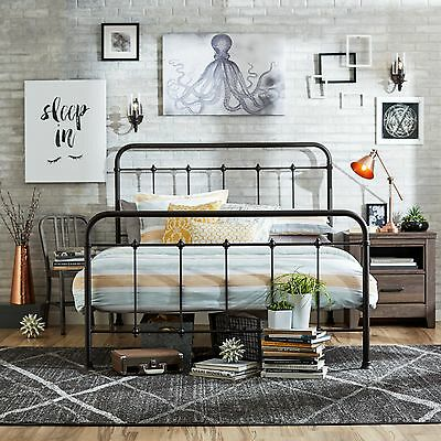 queen size bed frame metal headboard footboard adjustable height antique rustic