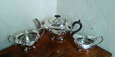 Late 19th or early 20th Century 3 piece silver plate tea set by Buxton & Co VGC