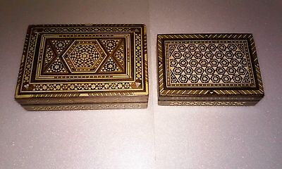 Two Antique Sadeli Mother of Pearl Bone Mosaic Inlay Islamic Wood Trinket Box