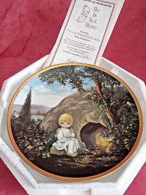 """NEW Precious Moments #2454c Bible Story Plate He Is Not Here w/cert of auth 8"""""""