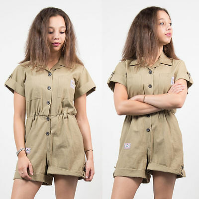 Womens Vintage Beige Khaki Button Front Playsuit Romper Safari Style Casual 8
