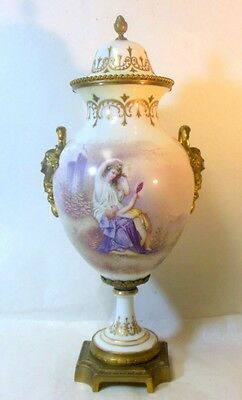 Antique SEVRES Artist Signed French Covered Urn Bronze Ormolu Female Handles