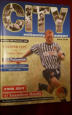 Chester City v Halifax Town Programme 18th December 1999