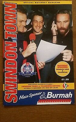 Swindon Town v Tranmere Rovers Programme 10th December 1994