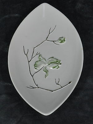 Carlton Ware Small Dish Cream Coloured Gold And Green Embossed Flowering Branch