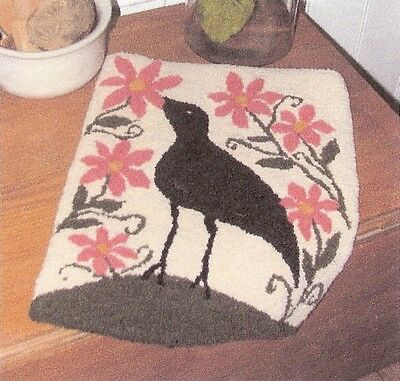 "Primitive Punchneedle Pattern--Old Tattered Flag  ""Crow In the Flower Garden"""