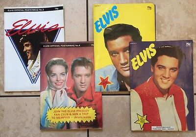 4 X Elvis Presley Posters Memorabilia 2 Official Poster Mags & 2 Elvisly Yours