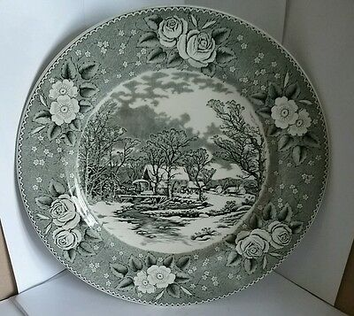 Vintage Adams plate Winter scenes. the old grist mill