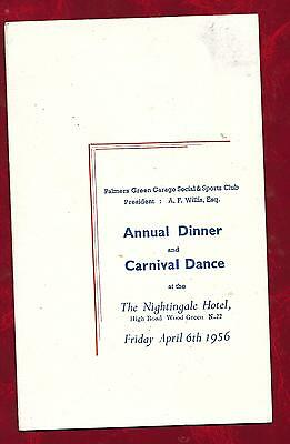 1956 Palmers Green Garage Social and Sports Club Annual Dinner menu