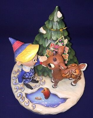 Jim Shore Rudolph And Hermey With Christmas Tree Fish Pond Figurine Traditions