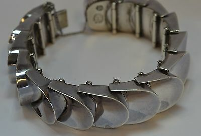 "Beautifully Made Heavy Vintage 7"" Thumbprint Bracelet Taxco Mexico 970 Silver"