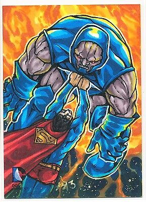 2014 DC Epic Battles sketch of Superman & Darseid by Amber Shelton 1/1 !
