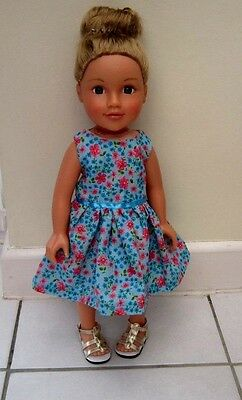 "18"" Dolls Clothes, Dress - Turquoise Pink Flower - Design a Friend"