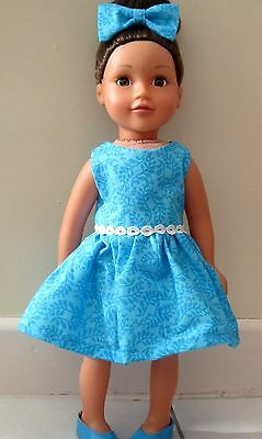 "18"" Dolls Clothes, Dress & Hair Bow - Turquoise- Design a Friend"