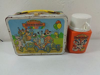 Vintage 1977 The Funtastic World of Hanna-Barbera Metal Lunchbox with Thermos