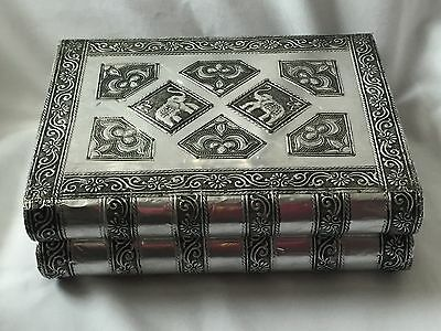 Large Metal Jewellery Box With Elephants Top Excellent Condition