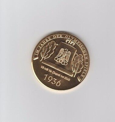 commemorative medal   XI.Olympic Games BERLIN 1936 - Gold platet  !!  VERY RARE
