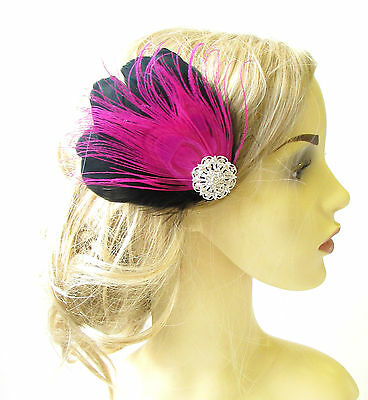 Hot Pink Black Silver Peacock Feather Fascinator Vintage Hair Clip 1920s 1175