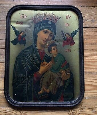 Vintage Russian Religious Icon Print In Antique Frame. Classic