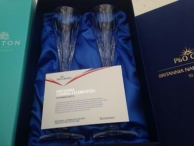 P&o Cruises Britannia Naming Ceremony Champagne Flutes & Bubbly Waterford - Rare