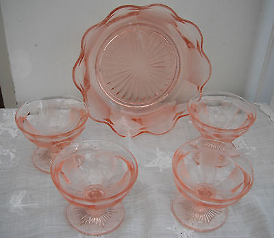 Art Deco pink glass 5 piece fruit  bowl set Part frosted glass