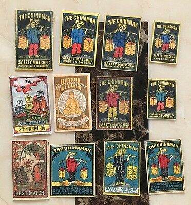 Old Chinese/japanese Box Matchbox Labels - Mix Of 12
