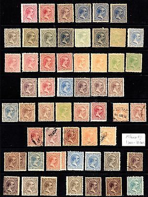 Phillipines / Filipinas; Spanish Period; collection of 97 stamps; six scans