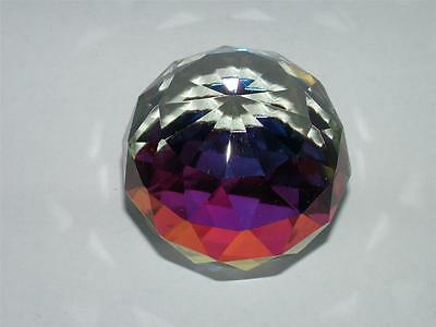 Faceted Ball Coloured Cut Glass Crystal Ornament