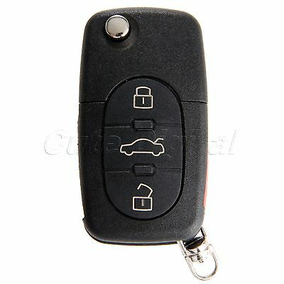Uncut Blade 3+1 Buttons Remote Folding Key Shell Case for Audi TT S4 A4 A6