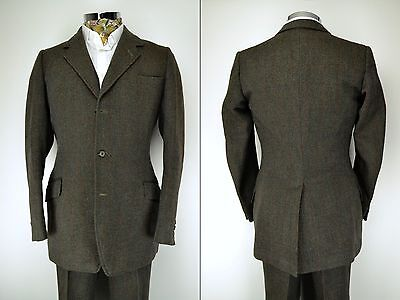 "H. Huntsman Savile Row Vintage 3 Piece Tweed Suit 38"" Ex Long 1950's"